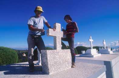 Costa Rica, San José, trabajadores del cementerio