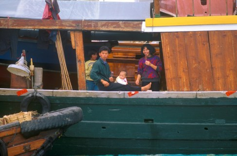 Hong Kong, puerto, familia vivienda flotante Junco