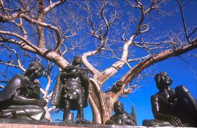 Uruguay, Montevideo, los últimos Charruas, el Prado, árbol, escultura