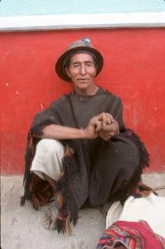 Bolivia, Chuquisaca, Tarabuco, feria dominical, venta ambulante, minero, retrato