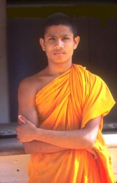 Sri Lanka, Sigiriya, templo de la roca, moje budista, retrato