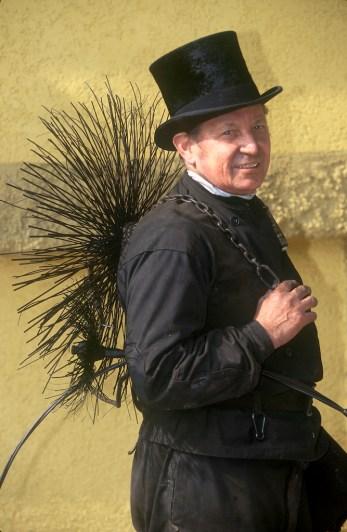Alemania, Thuringia, Erfurt, maestro deshollinador, retrato