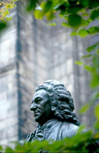 Alemania, Sajonia, Leipzig, estatua de Johann Sebastian Bach