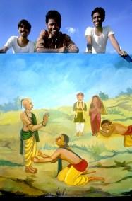 India, Mysore, Fiesta de Dussehra, Karnataka, Participantes pintar los carro del desfile
