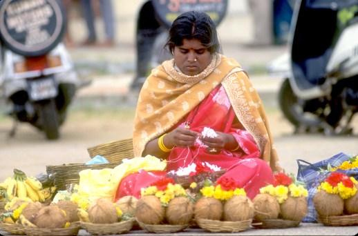 India, Mysore, Fiesta de Dussehra, Karnataka, venta de ofrendas, retrato