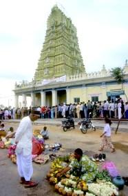 India, Mysore, Fiesta de Dussehra, Karnataka, venta de ofrendas