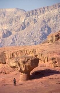 Israel, Eilat, parque Timna, Negev, Roca Hongo, escultura