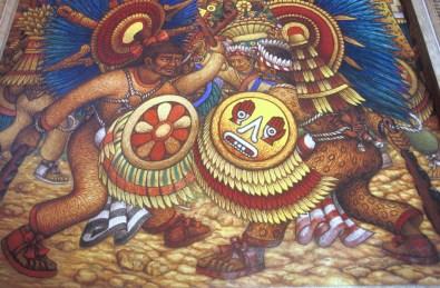 México, Tlaxcala, Mural de Desiderio Hernandez Xochitiotzin, Palacio de Gobierno