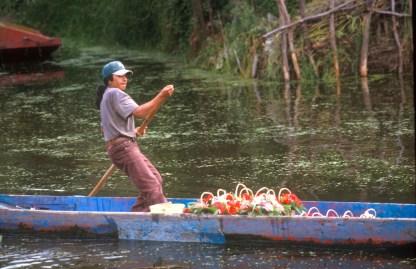 México, DF, canales de Xochimilco, barcas venta flores, transporte, transporte