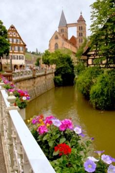 Alemania, Baden-Wurtemberg, Esslingen Am Neckar, Iglesia San Dionisio, río Neckar