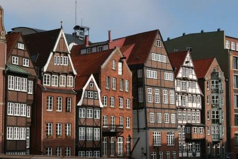 Alemania, Hamburgo, Calle Deichstrasse, casas de la edad media
