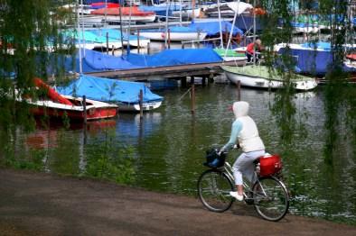Alemania, Hamburgo Lago Aussenalster, bicicleta