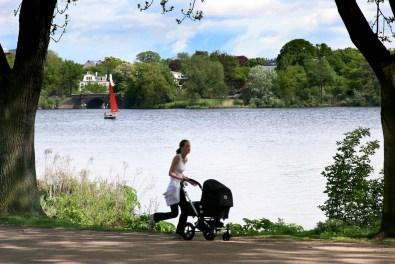 Alemania, Hamburgo Lago Aussenalster