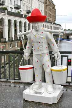 Alemania, Hamburgo, Artista Hans Hummel, porteador de agua pintado