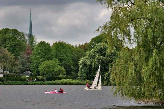 Alemania, Hamburgo, Lago Aussenalster