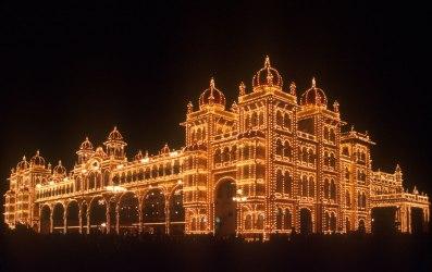 India, Mysore, Fiesta de Dussehra, Karnataka, Noche