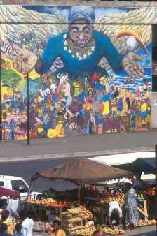 Sudáfrica, Durban, Mercado indio, pintura mural
