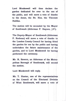 LCC Order of Proceedings for the opening in 1904.