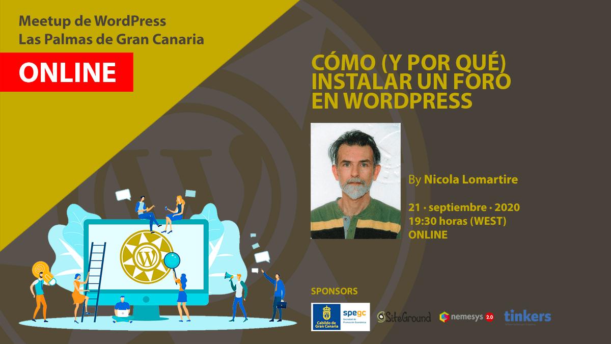 Cartel de la Meetup de WordPress con Nicola Lomartire