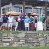 Pat Cook kicks off the 2016 Golf Tournament.