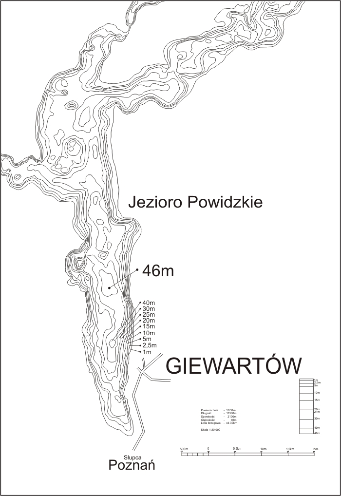 Mapa batymetryczna Jeziora Powidzkiego
