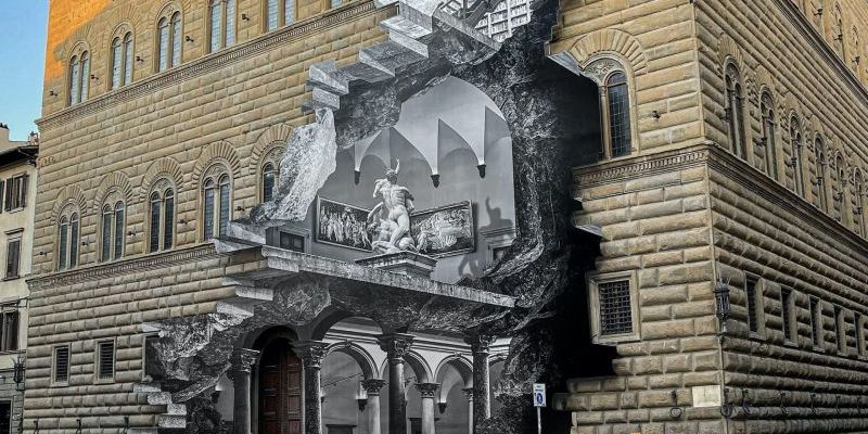 Florence unveils striking street art 'wound' at Palazzo Strozzi