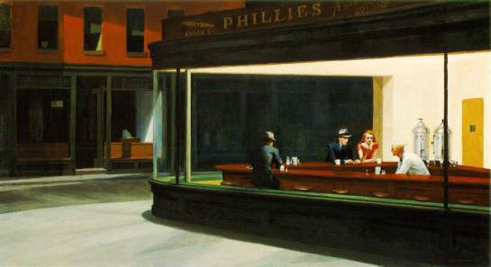 | Nighthawks, 1942, by Edward Hopper |