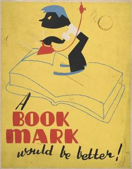 WPA poster shows a boy ironing down the page of a book.
