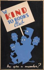WPA poster shows a group of children holding a sign for the book club.