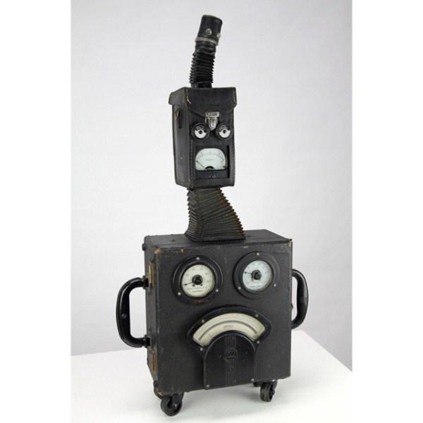 Head Case #2, 2012. This little guy lives at the Exploratorium in San Francisco now. Check his video here: https://nemogould.com/portfolio-item/head-case-2/ #sculpture #art #kinetic #kineticsculpture #automata #meters