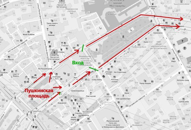 Вход на Марш. Зеленым цветом обозначены рамки.