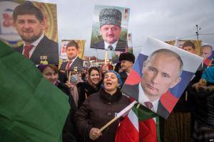 Сторонники Рамзана Кадырова на митинге в Грозном, январь 2016 года