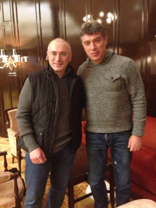 Facebook Boris Nemtsov. С Михаилом Ходорковским. Цюрих. 6 января 2014 года