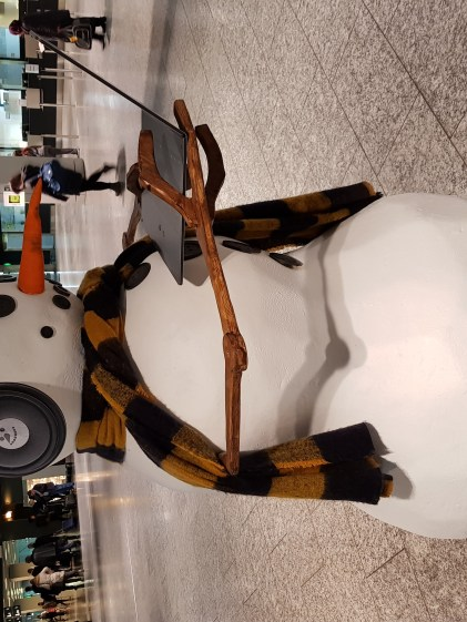 Mr. Snowman at the airport
