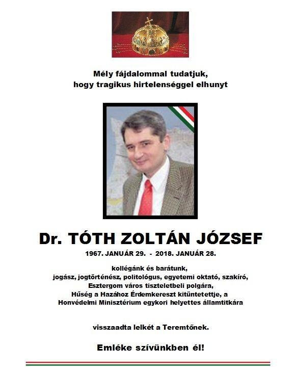Elhunyt Dr. Tóth Zoltán József
