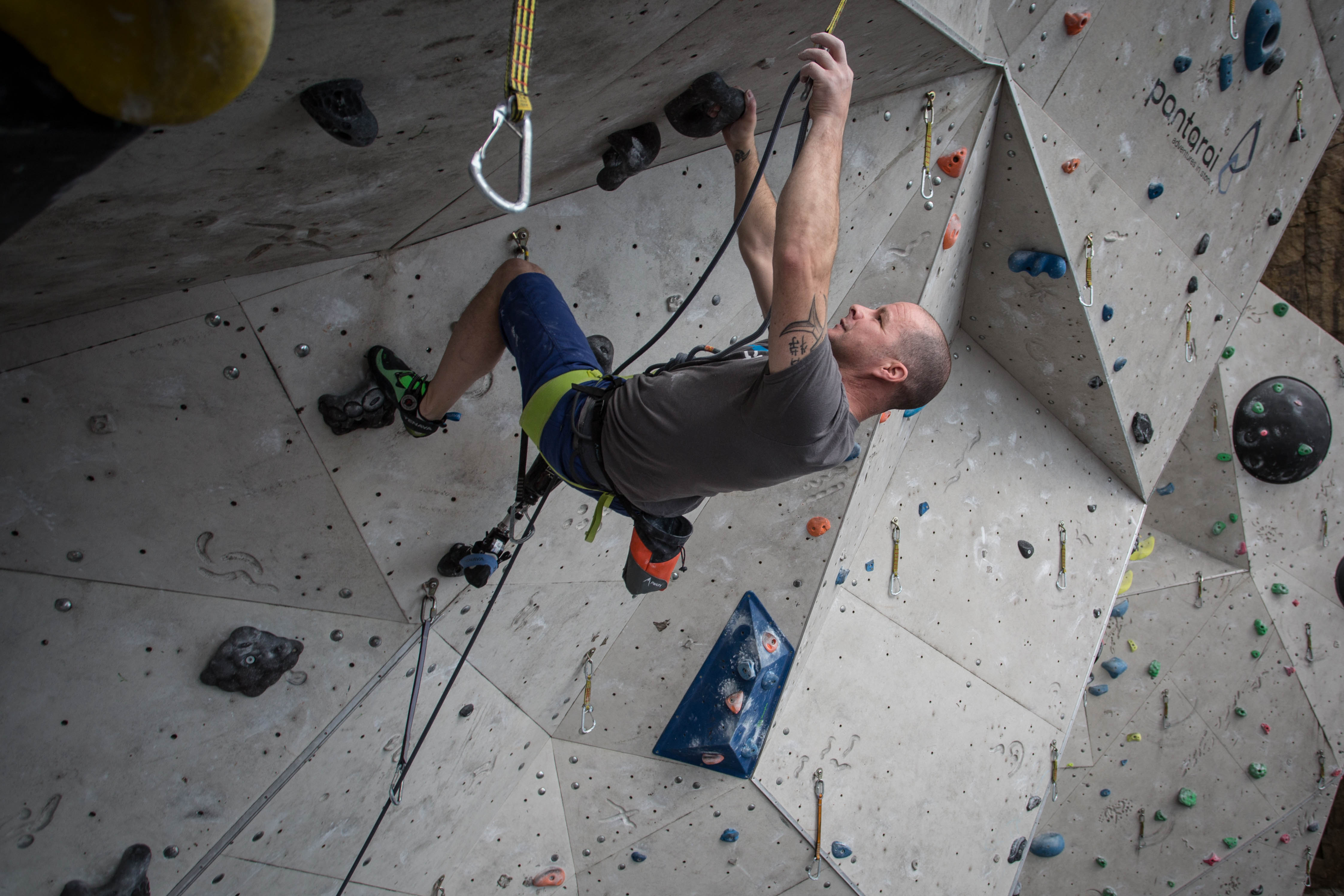 Paraclimber, Keith Lynch at launch of Paraclimbing Cup and IFSC World Cup at EICA Ratho - copyright - Finalcrux