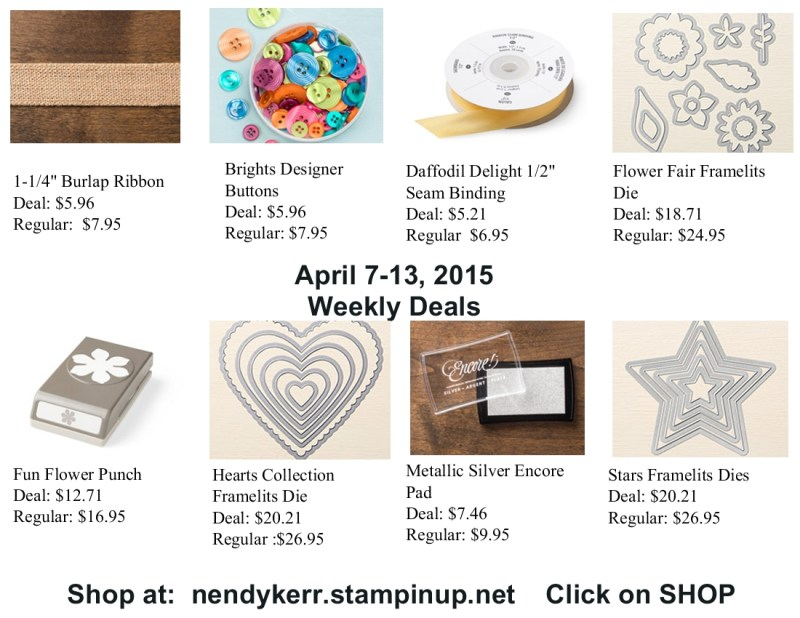 Stampin' Up! Weekly Deals April 7-13, 2015