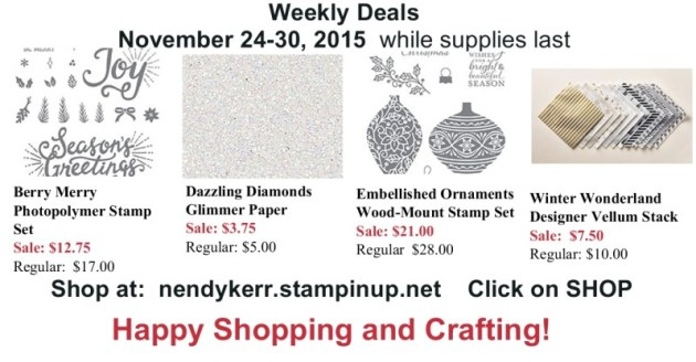 Stampin' Up! Weekly Deals fro November 24-30, 2015