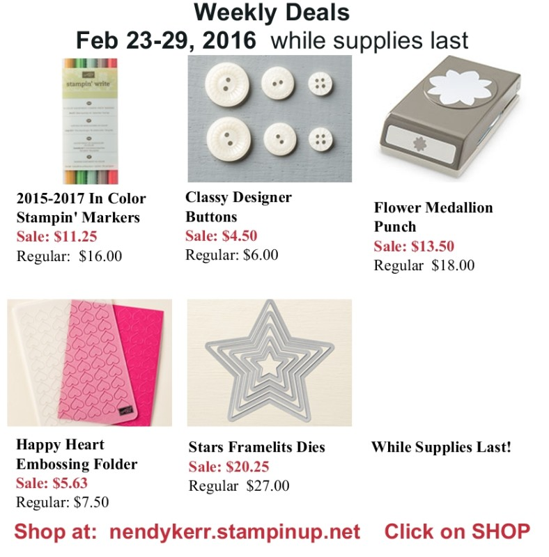 Stampin' Up! Weekly Deals Feb 23-29, 2016