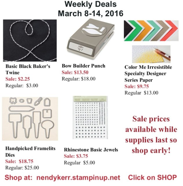 Stampin' Up! Weekly Deals March 8-14, 2016