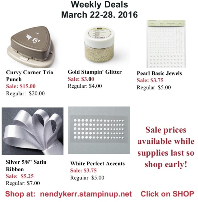 Stampin' Up! Weekly Deals March 22-28, 2016.