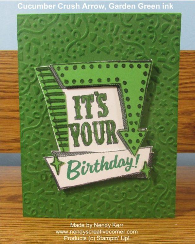 Confetti Marquee Birthday Card in Greens