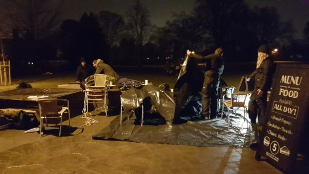 Preparing shelters for the night at The Big Sleep Out 2017