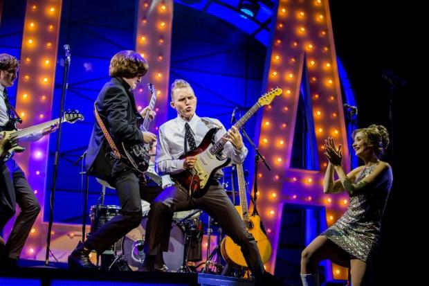 L-R Christopher Weeks, Alex Harford, Jay Osbourne, Gemma Brodrick-Bower (Pauline) - Cilla The Musical - Liverpool Empire - Photo By Matt Martin (134)