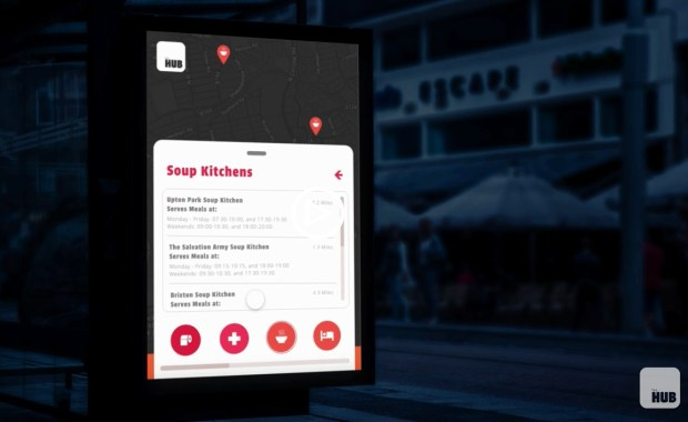 By night, The Hub transforms into an interactive information point for the homeless