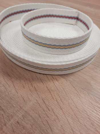 TASSENBAND extra stevig | 25mm | Wit met streep grijs-geel-grijs