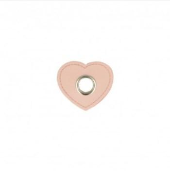 EYELET PATCH | Imitatieleer hart 10mm*4 - roze