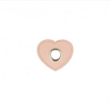 EYELET PATCH   Imitatieleer hart 10mm*4 - roze