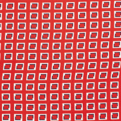 COUPON | VISCOSE | Flowers squares - rood (200*140cm)
