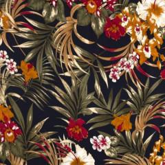 COUPON | VISCOSE | Flowers - navy/camel(200*140cm)